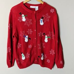 Red & White Snowman Holiday Christmas Sweater 1X